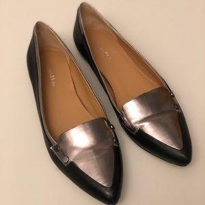 Calvin Klein Pointed Toe Metallic and Black Flats